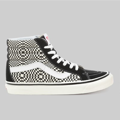 VANS SK8 HI 38 DX ANAHEIM BLACK WHITE WARP CHECK